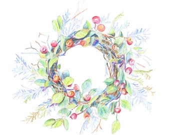 Wreath with berries watercolor painting