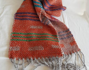 Orange Scarf with Stripes - Hand Woven Shawl - Long Handmade Scarf with Fringe -