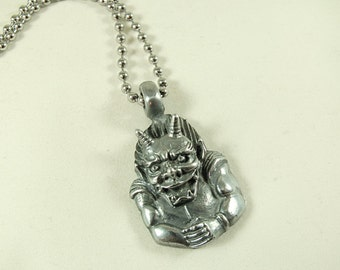 Silver Pendant Necklace,    Gargoyle  Mens Accessories  Handmade