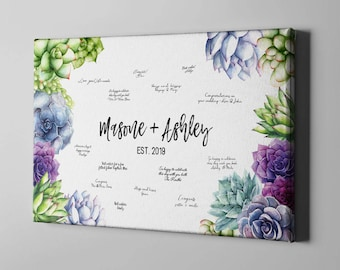SALE 50% Off Canvas Guest Book, Succulents Wedding GuestBook, Greenery Cactus Guest Book, Canvas Anniversary Keepsake Gifts Ideas - CGB122