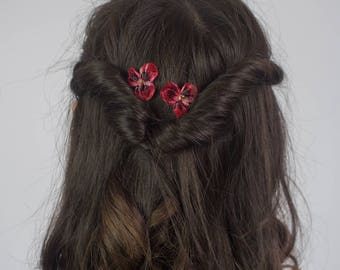 Red Flower Hair Grips, Red Flower Hair Pins, Red Flower Hair Clips, Red Flower Bobby Pins, Red Flower Kirby Grips, Dark Red Pansy Flower