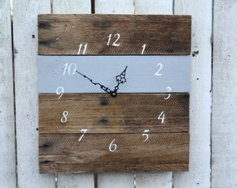 Reclaimed Pallet Wood Clock...Rustic Wall Clock.  Repurposed wood...Custom Color..Light Gray or pick your color.  Gift.  Home Decor