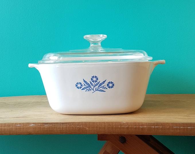 Set of Four Corningware Blue Cornflower Casserole Dishes