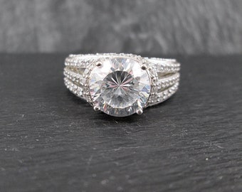 Sterling Silver Glass Rhinestone Ring | Size 6.75 | Vintage Woman's Ring