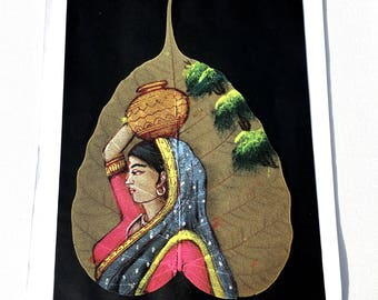 Indian Woman Oil Painting; Indian Oil Painting on Dried Leaf