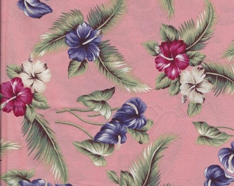 "Hawaiian Floral on Pink Rayon Fabric. 44"" wide."