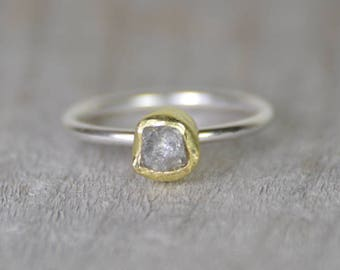 Raw Diamond Engagement Ring With 18k Yellow Gold, 0.75ct Rough Diamond Ring, Handmade In England