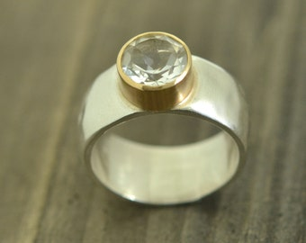 White Topaz and Sterling Silver Ring Set in 14K Gold Bezel, Textured, Handmade