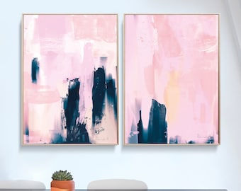 Set of 2 Prints, Abstract Art Prints, Large Wall Art, Printable Abstract Art, Navy Blue and Pink, instant download Art, Minimal Art A1 Print