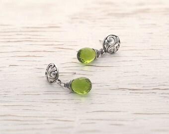 Mothers day, drop earrings, silver earrings, august birthstone, silver earrings, green earrings, handcrafted earrings, etsy gift