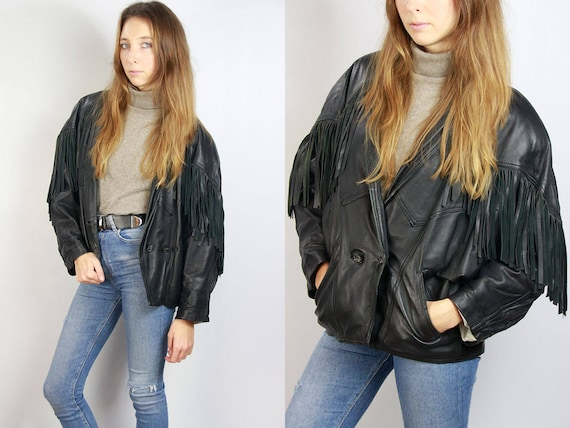 Biker Leather Jacket / Vintage Leather Jacket / Fringed Jacket / Fringe Leather Jacket / Black Leather Jacket / 80s Leather Jacket