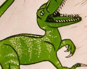 Velociraptor Love, Hand Pulled Linocut, Multi Block Print