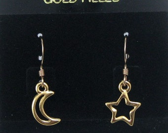 Gold Moon and Star Earrings on Gold Filled Ear Wires, Asymmetrical Earrings, Celestial Jewelry, Moon and Star Dangles