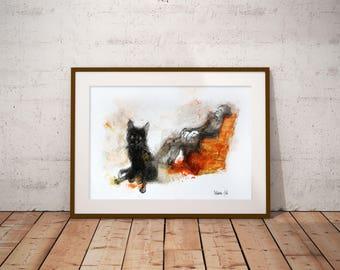 Black Cat Painting. Black Cat Watercolor Wall Art, Black Cat Home Decor, Black Cat illustration. Mans watercolor painting.