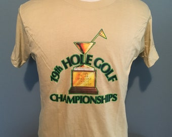Vintage Funny Drinking Golf tee 198th Hole Golf Champion Humor Sports Tan tee t shirt / vintage clothing / 80s clothing Small