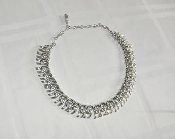 Vintage Costume Necklace Silver Tone Linked Adjustable Choker Necklace Signed Coro 14-18 Inches