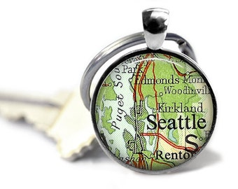 Seattle map key ring groomsman gift Puget Sound keychain Seahawks vintage atlas key chain Pacific Northwest.