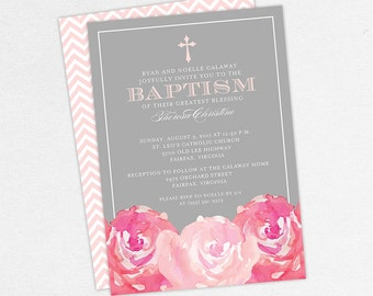 Baptism Invitation, Christening Invitation, Girl Baptism, Printable Baptism Invitation, PDF, Flowers, Floral, Watercolor, Peony, Pink, Haley