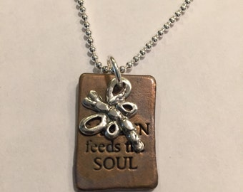 """Bronze charm """" a GARDEN feeds the SOUL"""" with Dragon fly"""