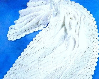 Vintage Crochet Pattern PDF Angel's Ladder Afghan  Blanket  Christening Baptism