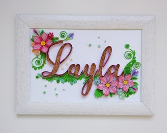 Quilled name for Layla, Quilling paper monogram, Nursery decor, Original quilled letter, Unique quilling Wall decor, Personalized gift