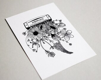 Harmonica & Wild Flowers Black and White Art Postcard