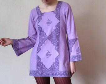 Vintage Purple Bell Sleeve Tunic Groovy Sixties Vibes Retro Intricate Design Festival Mini Dress Mod Twiggy