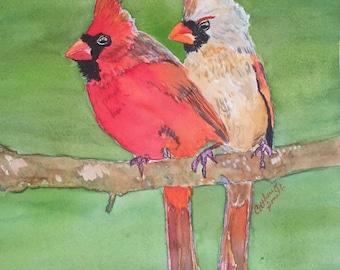 Cardinals, red birds, bird paintings, art prints, bird prints, Cardinal couple, redbird, watercolor birds, original art, bird paintings