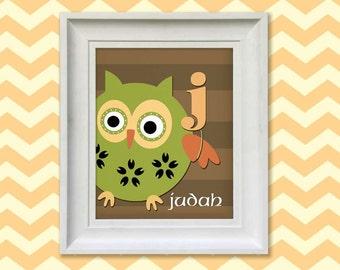 Nursery Art Print - Woodland Owl Monogram 8x10 Personalized Baby Room Decor