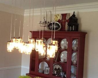 Mason jar chandelier Etsy