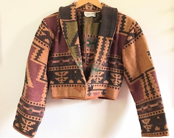 Vintage Southwestern Jacket. Vintage Cropped Jacket. 90's Crop Jacket. 90's Jacket. Women Vintage Jackets. Cotton Jacket. Cropped Jacket