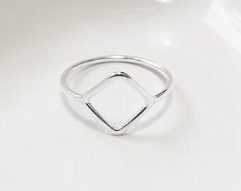 Diamond shaped Ring, Geometric Ring, Minimalist Silver Ring, Delicate Ring, 925 Sterling Silver Ring, Dainty Ring, Simple Ring