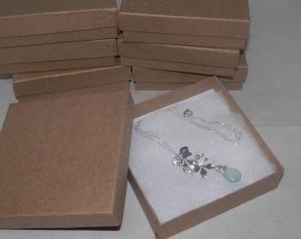 Kraft 50 3.5x3.5x1 Cotton filled Jewelry Presentation Retail Gift Boxes