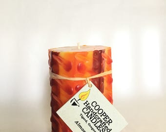 """4"""" Tall Almond Scented Octagon Pillar Candle - Red, Orange, Yellow"""