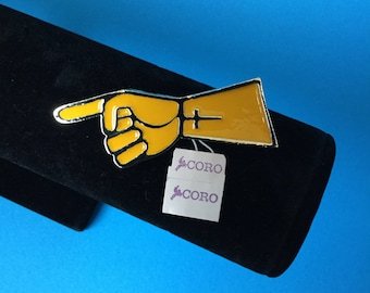 70s New Vintage, CORO Yellow Glossy Enamel Hand Pin Brooch, NWT, NOS / New Old Stock