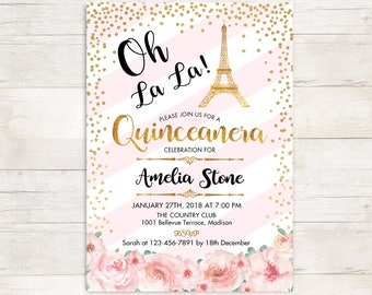 Paris Quinceanera Invitation. Eiffel Tower 15th Birthday for Girl. Floral Pink Stripes Glitter Gold. DIGITAL PRINTABLE Invite. Personalized
