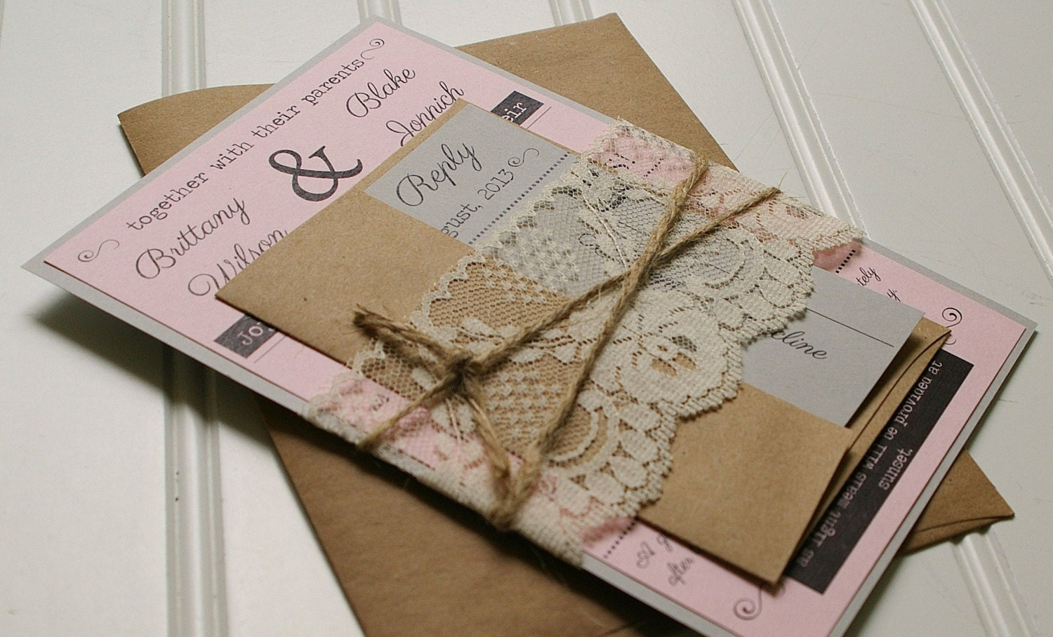 Twine and Lace Wedding Invitations: Kraft Paper. Rustic