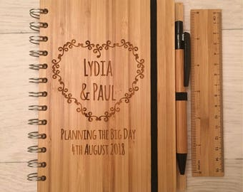 Personalised engraved bamboo wedding planner notebook pen and ruler set
