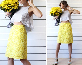 Finnish vintage yellow cotton high waist fitted pencil knee length midi skirt S M