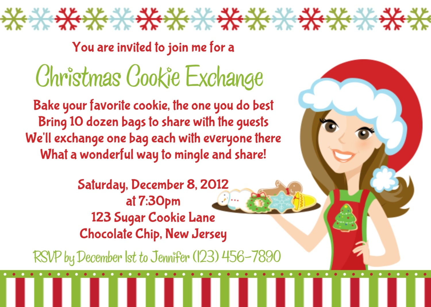 Cookie Exchange Invitation Personalized Custom Christmas