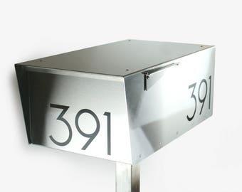 316L marine grade - Wide Minimalist all stainless -modern mailbox - design - 316 - post mounted - post mount