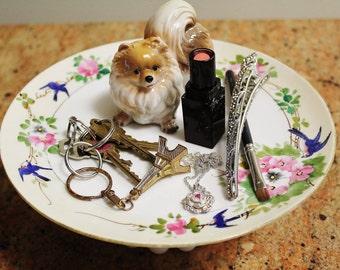 Playful Pomeranian Puppy Spring Fun Pedestal Jewelry Catch All