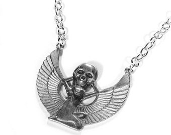 Steampunk Jewelry Necklace Silver SKULL Head Egyptian Goddess ISIS, WiNGS Anniversary Mens Skull Burning Man Jewelry - Jewelry by edmdesigns