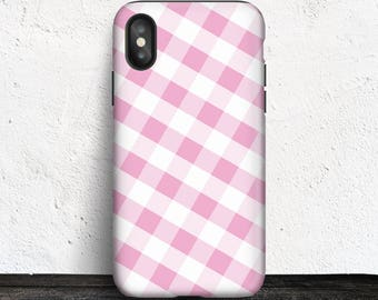 Pink Gingham iPhone X Tough Case - Pattern with Pink and White - Made to Order