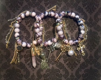Snakeskin, Silver & Gold Quartz/Pearl Bracelet Stack