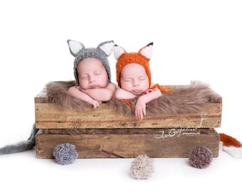 Fox Hat Wolf Hat Baby Fox Prop Winter baby prop Newborn Prop Baby Prop Fox Prop Twins Prop Baby Girl Prop Animal Prop Vintage prop