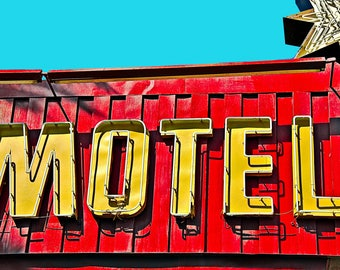 Vintage Motel (Framed in beautiful white or black wood frame with white mat border)