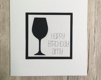 Handmade personalised wine birthday card // Personalized wine birthday card // Happy birthday