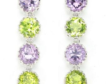 Edwardian Suffragette Jewelry 14k White Gold Vermeil Amethyst & Peridot Dropper Earrings - Truly Venusian
