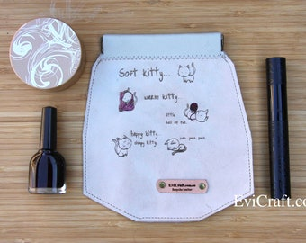 Soft kitty leather Case with internal flex frame, Sunglasses pouch, cosmetic bag, toiletry storage, cow leather sleeve, pencil case, gift